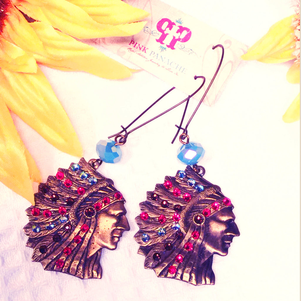 Pink Panache Chief Indian Earrings - Blessed and Beautiful Boutique