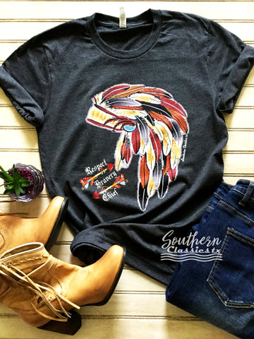 Distressed Chief Headdress Tee - Blessed and Beautiful Boutique