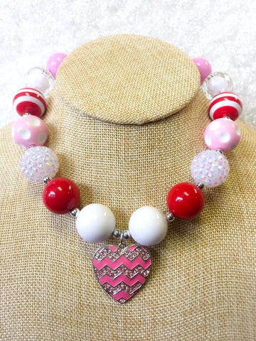 Chunky Necklace Pink Heart Youth - Blessed and Beautiful Boutique