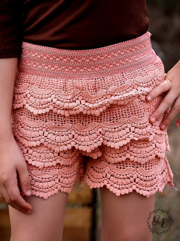 Girls Scallop Crochet Lace Shorts in Peach - Blessed and Beautiful Boutique