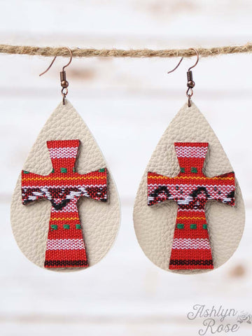 Red Serape Cross Leather Teardrop Earrings - Blessed and Beautiful Boutique