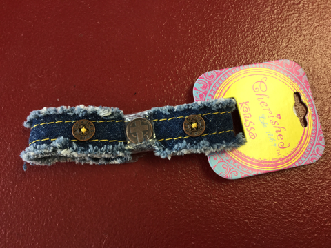 Kerusso Cherished Canvas bracelet Denim Cross - Blessed and Beautiful Boutique