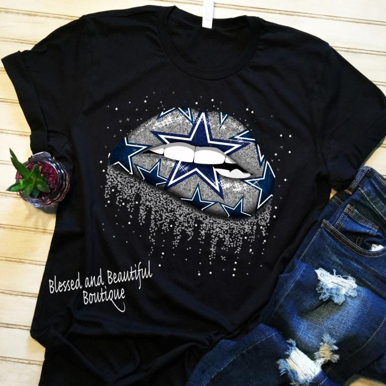 Dallas Cowboys Lip Shirt - Blessed and Beautiful Boutique