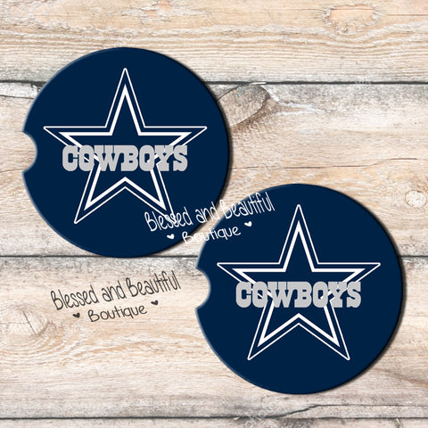 Dallas Cowboys Car Coasters - Blessed and Beautiful Boutique