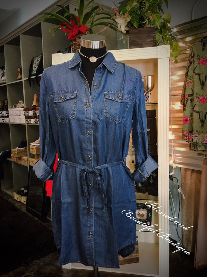 Denim Shirt Dress with Belt - Blessed and Beautiful Boutique