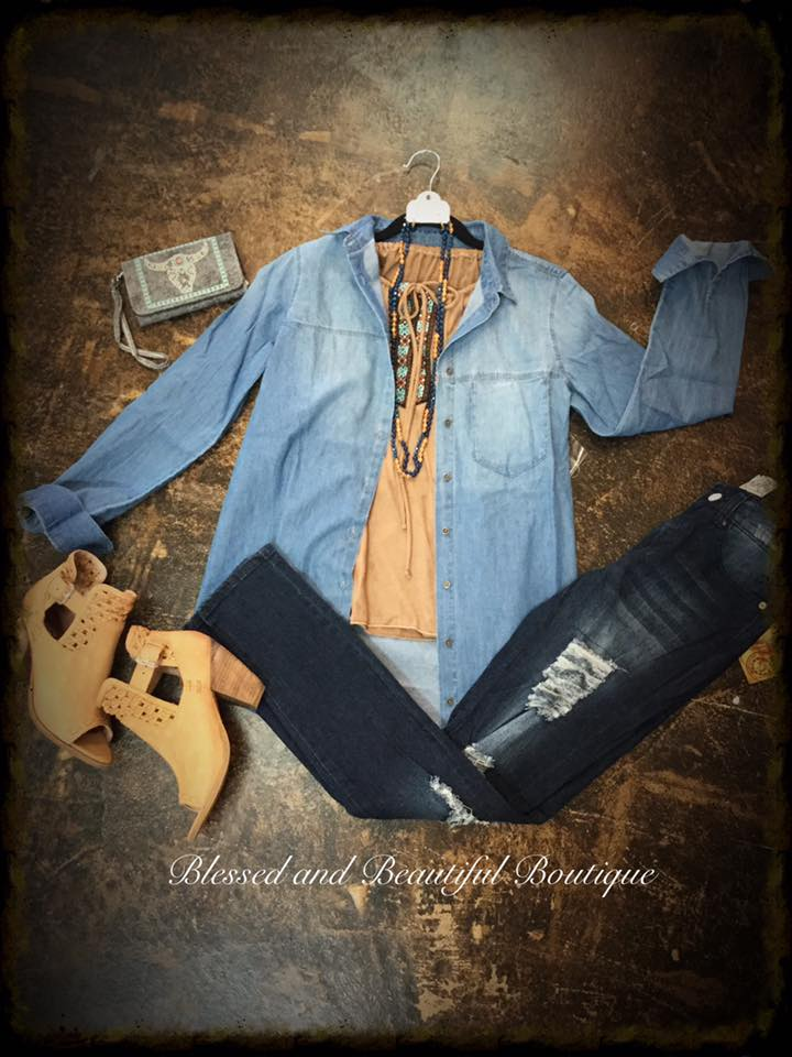 Denim Shirt Long Sleeve - Blessed and Beautiful Boutique