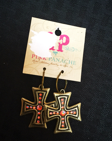 Pink panache copper/peach cross earrings - Blessed and Beautiful Boutique