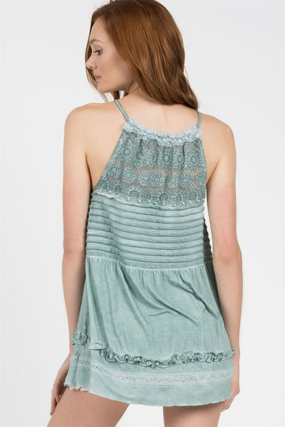 Emerald Haulter with Lace Detail - Blessed and Beautiful Boutique