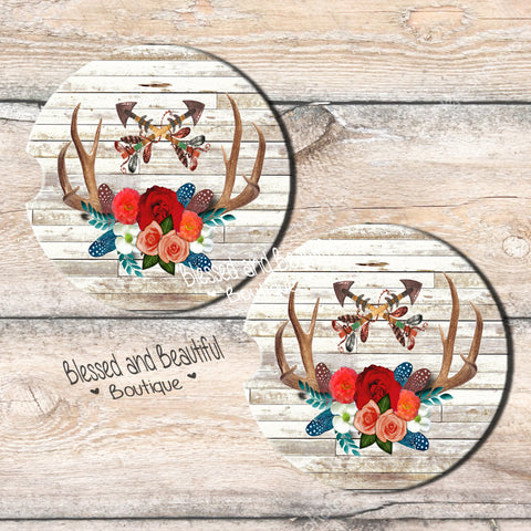 Floral Antlers Car Coaster - Blessed and Beautiful Boutique