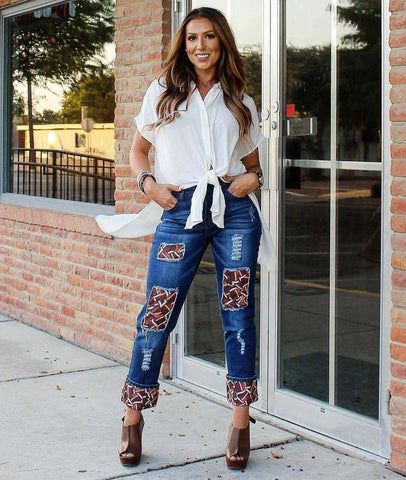 Football Jeans - Blessed and Beautiful Boutique