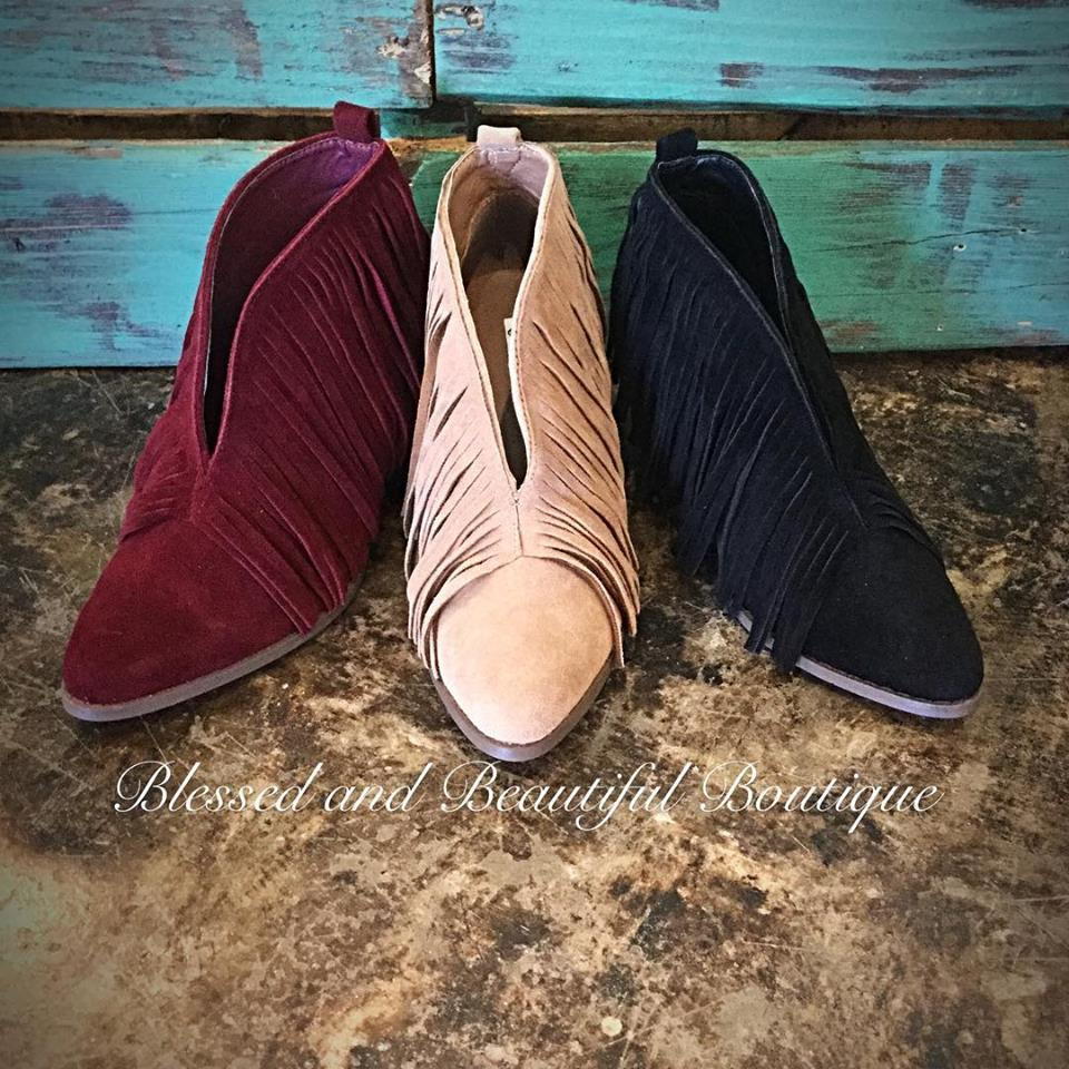 Fringe Booties - Taupe - Blessed and Beautiful Boutique