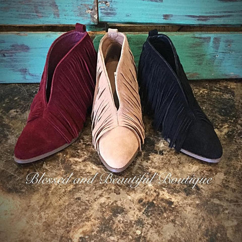Fringe Booties - Wine - Blessed and Beautiful Boutique