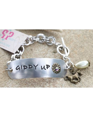 Pink Panache Silver Toned Stamped Giddy Up Bracelet - Blessed and Beautiful Boutique