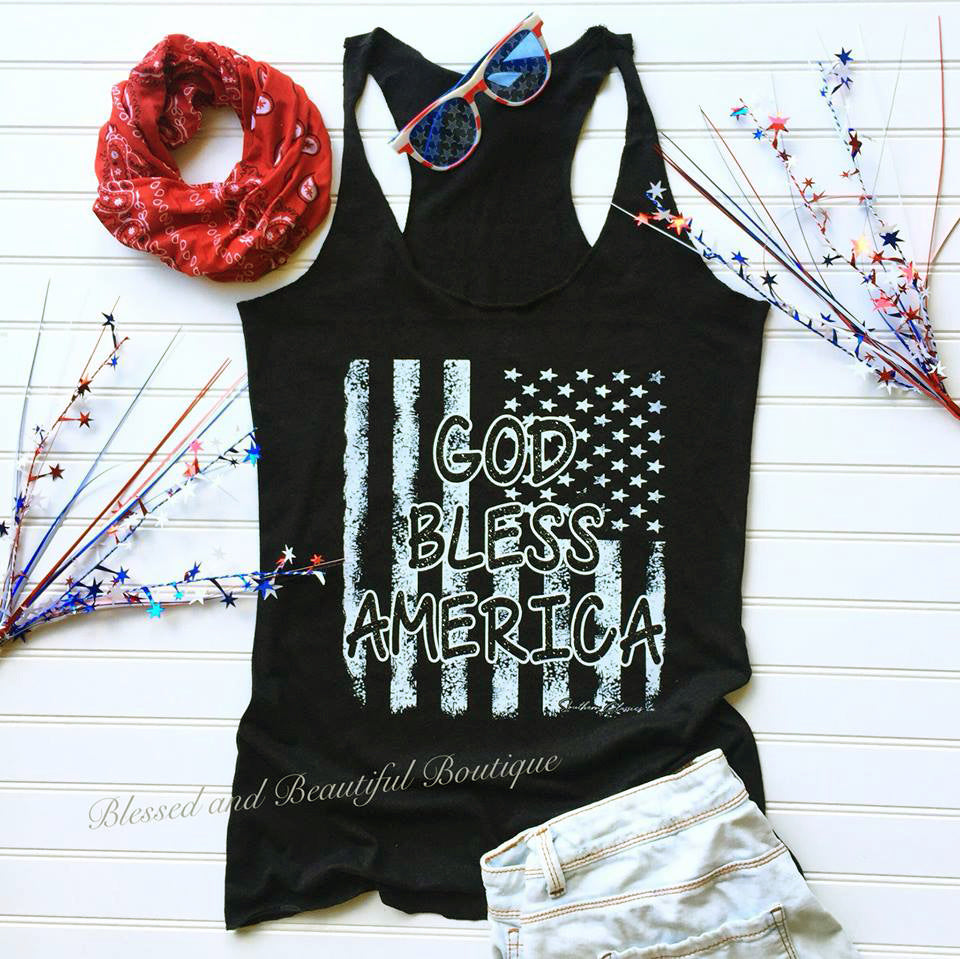 God Bless America Patriotic Tank - Blessed and Beautiful Boutique