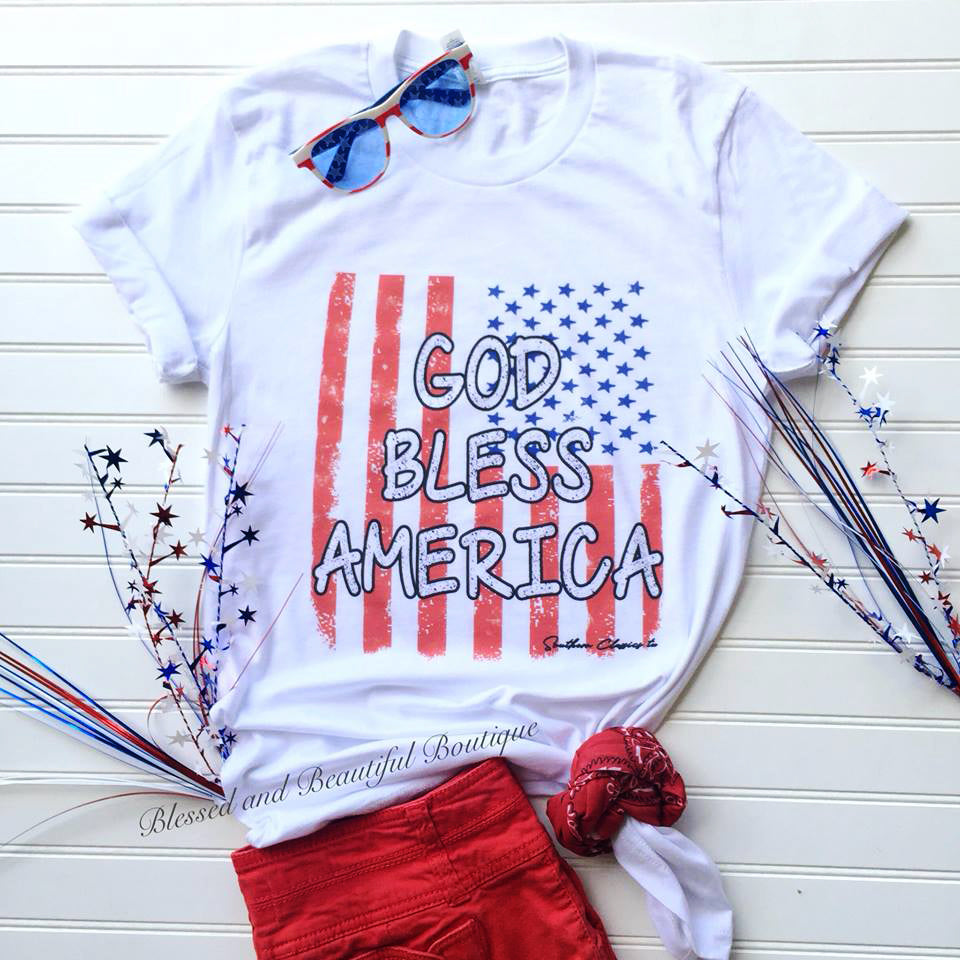 God Bless America Patriotic Tee - Blessed and Beautiful Boutique