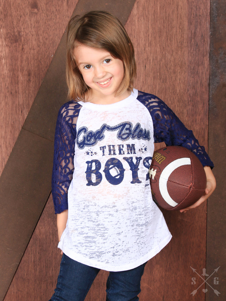 God Bless Them Boys Football Shirt with Lace Sleeves - Youth - Blessed and Beautiful Boutique