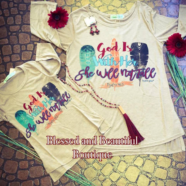 God is with Her, She will not fall Brown 3/4 sleeve Youth - Blessed and Beautiful Boutique