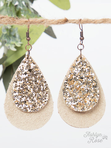 Small Beige Leather Teardrop with Gold Glitter Accent - Blessed and Beautiful Boutique