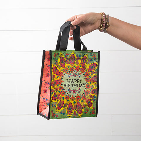 Happy Birthday Green Flower Medium Recycled Gift Bag - Blessed and Beautiful Boutique