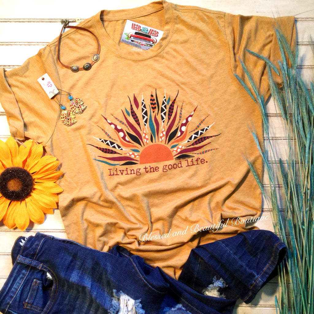Living the Good Life Mustard Tee - Blessed and Beautiful Boutique