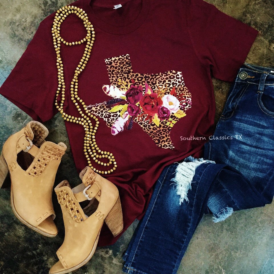 Texas Leopard Tee - Blessed and Beautiful Boutique