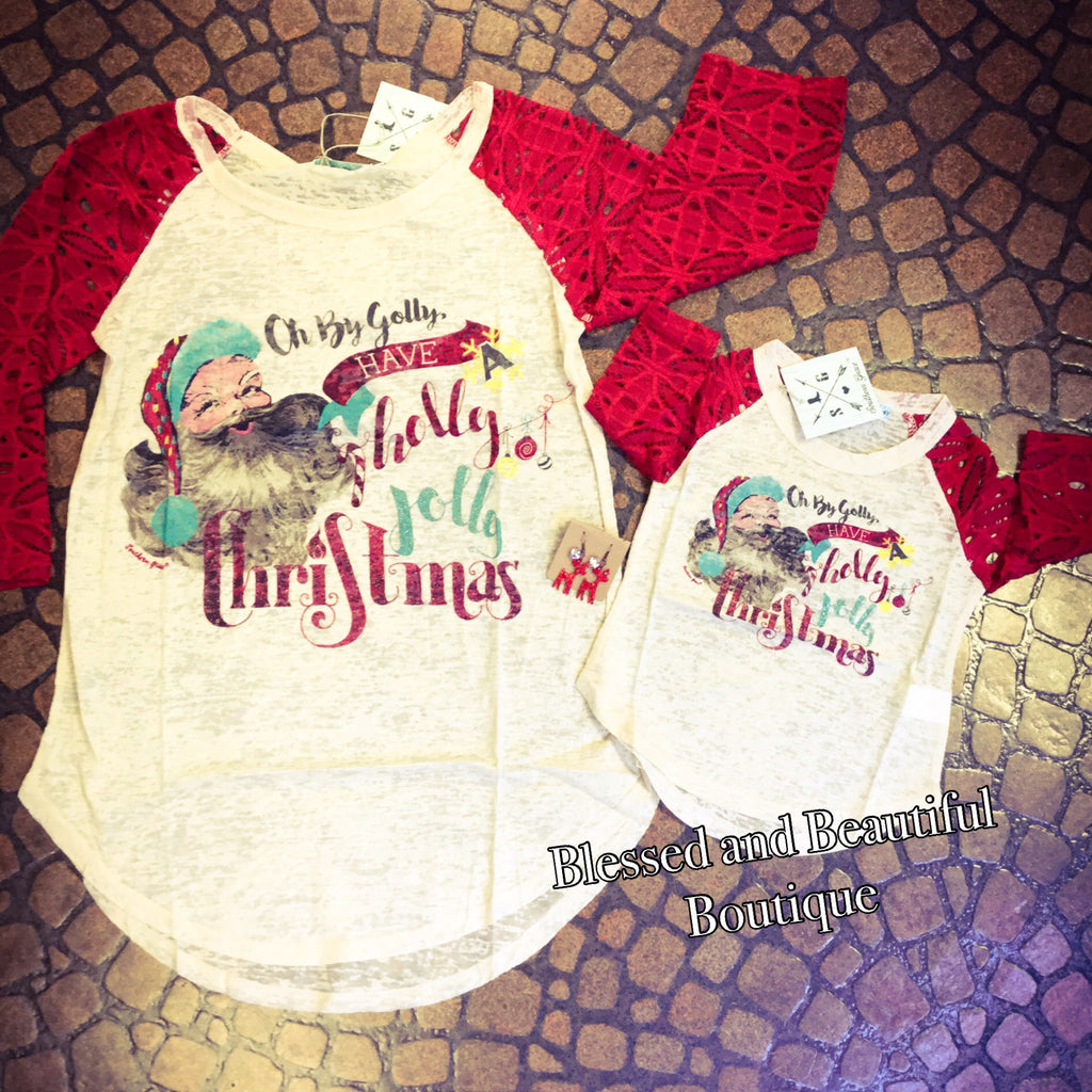 Holly Jolly Christmas Cream Burnout with Red Lace Sleeves - Youth - Blessed and Beautiful Boutique