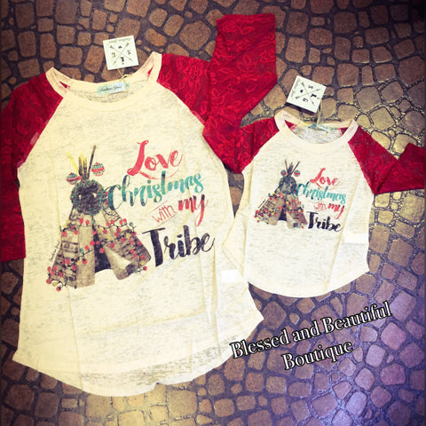 Love Christmas with my Tribe Cream Burnout with Red Lace Sleeves - Youth - Blessed and Beautiful Boutique