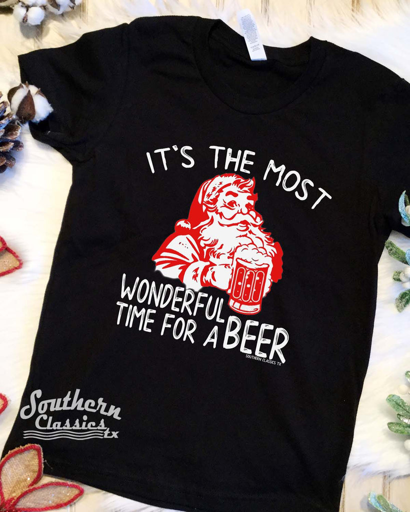 It's the Most Wonderful Time for a Beer on Black Tee