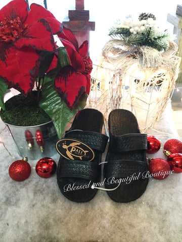 Jandals - Youth Black - Blessed and Beautiful Boutique