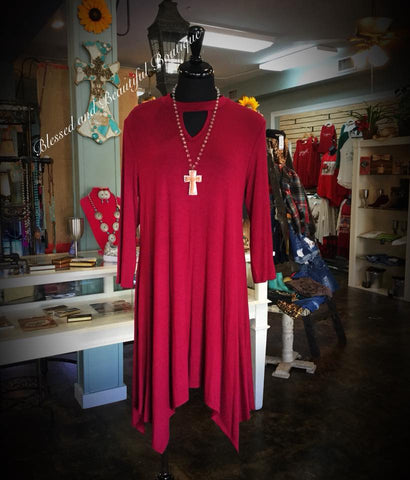Keyhole Wine Dress - Blessed and Beautiful Boutique