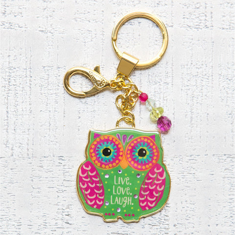 Key Chain Glitter & Gold Owl - Live Love Laugh - Blessed and Beautiful Boutique