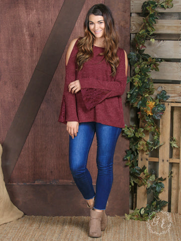 Maroon Cold Shoulder and Bell Sleeve Top - Blessed and Beautiful Boutique