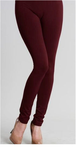 Ankle Length Leggings - Burgundy - Blessed and Beautiful Boutique