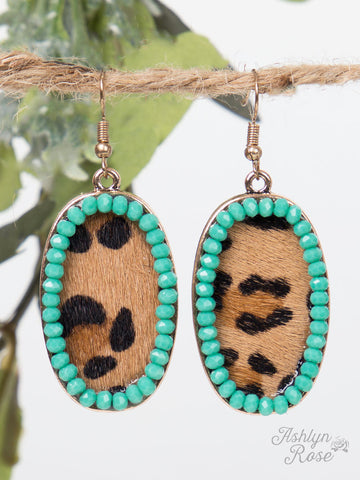 Leopard Oval Drop Earrings with Turquoise Beaded Outline - Blessed and Beautiful Boutique