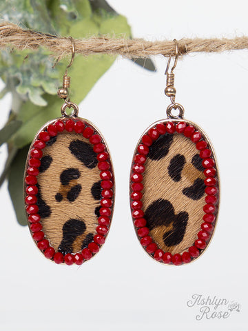Leopard Oval Drop Earrings with Maroon Beaded Outline - Blessed and Beautiful Boutique