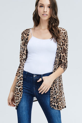 Leopard print open cardigan - Blessed and Beautiful Boutique