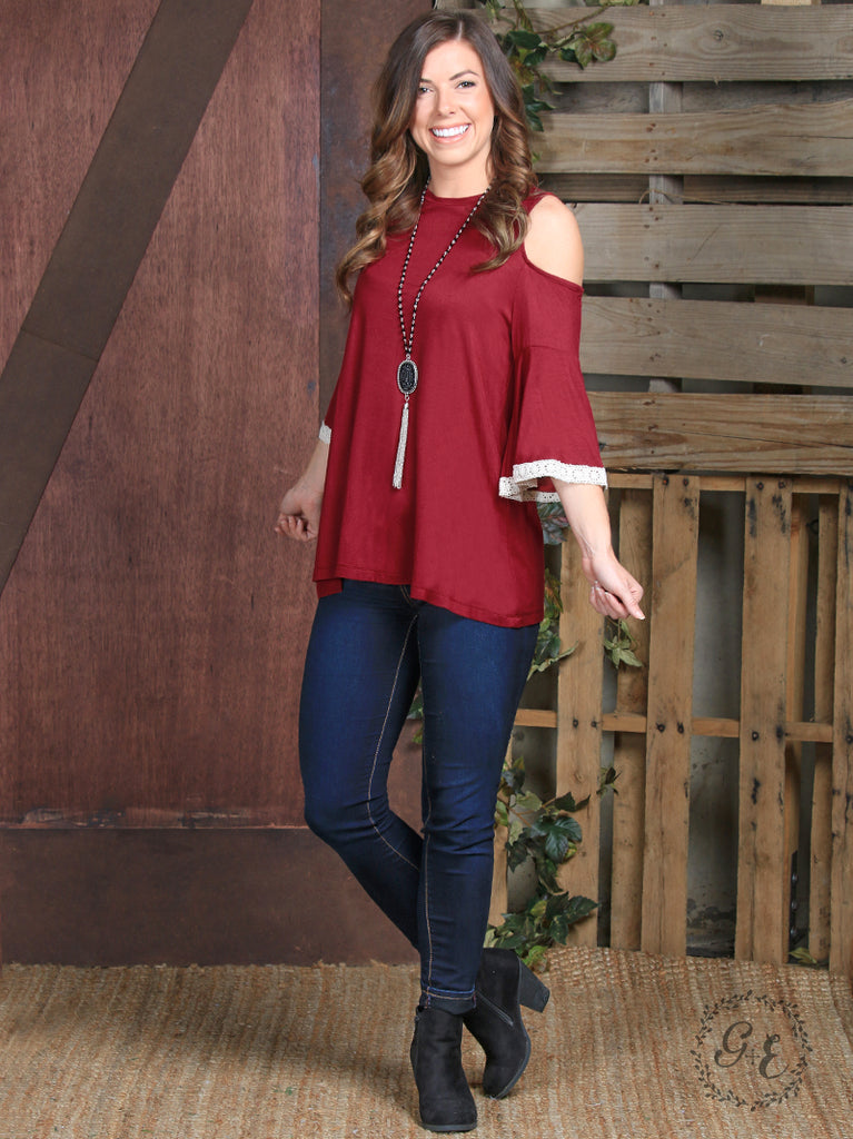 Burgundy Cold Shoulder Top with Crochet Trim on Sleeve - Blessed and Beautiful Boutique