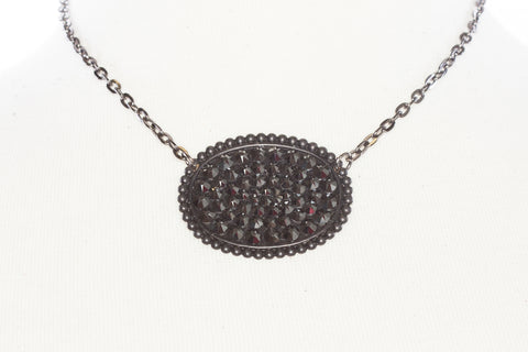Pink Panache Matte black sideways oval with BLACK crystals on chain necklace - Blessed and Beautiful Boutique