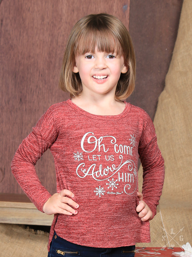 Girls' Oh Come Let Us Adore Him Top - Blessed and Beautiful Boutique