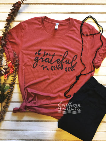 Oh So Grateful Rust Tee - Blessed and Beautiful Boutique