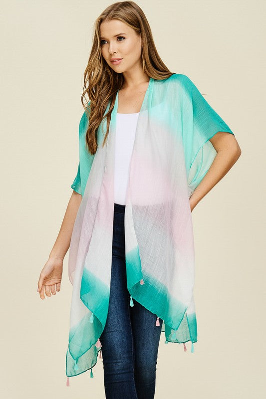 Ombre Kimono Turquoise - Blessed and Beautiful Boutique