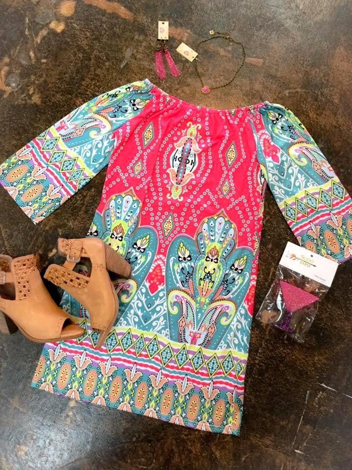 Printed Off the Shoulder Dress Turquoise & Pink - Blessed and Beautiful Boutique