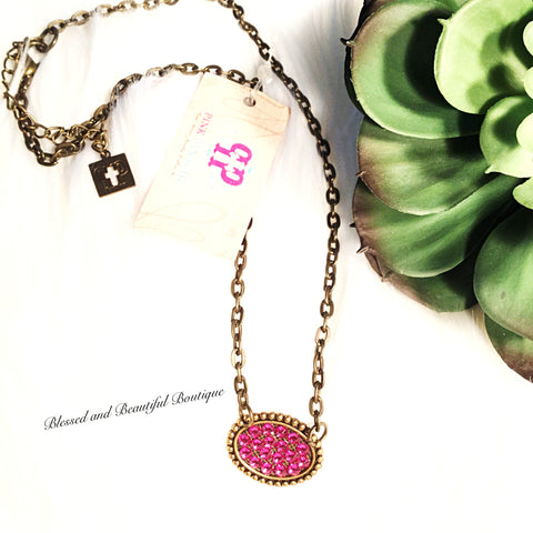 Pink Panache Small Bronze Mini Oval Necklace with FUCHSIA Crystals