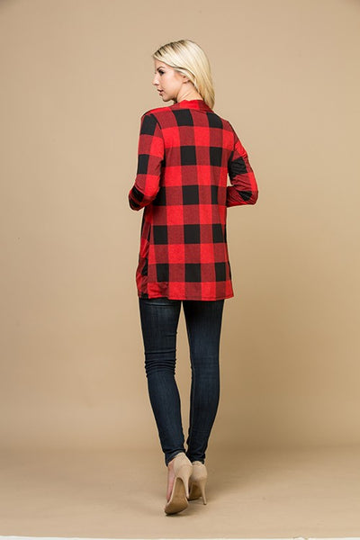 Red/Black Plaid open front cardigan - Blessed and Beautiful Boutique