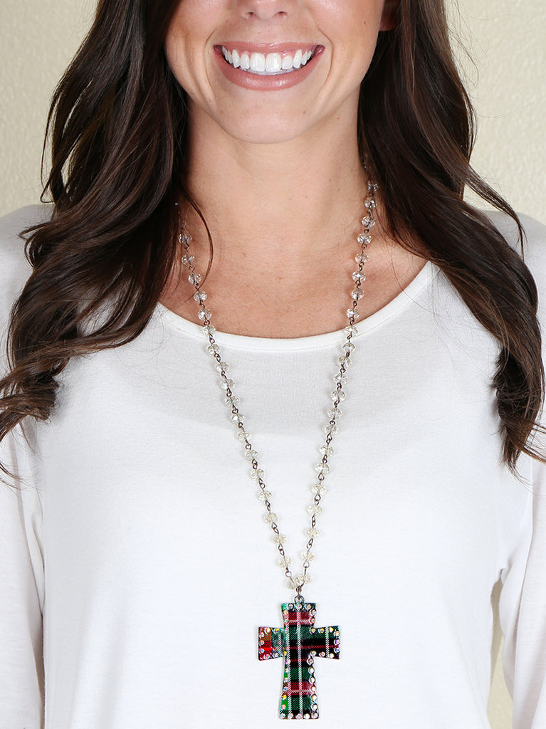 Plaid Cross Necklace - Blessed and Beautiful Boutique