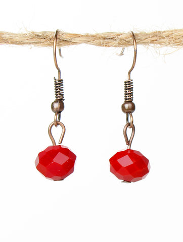 Simple Red Bead Earrings - Blessed and Beautiful Boutique