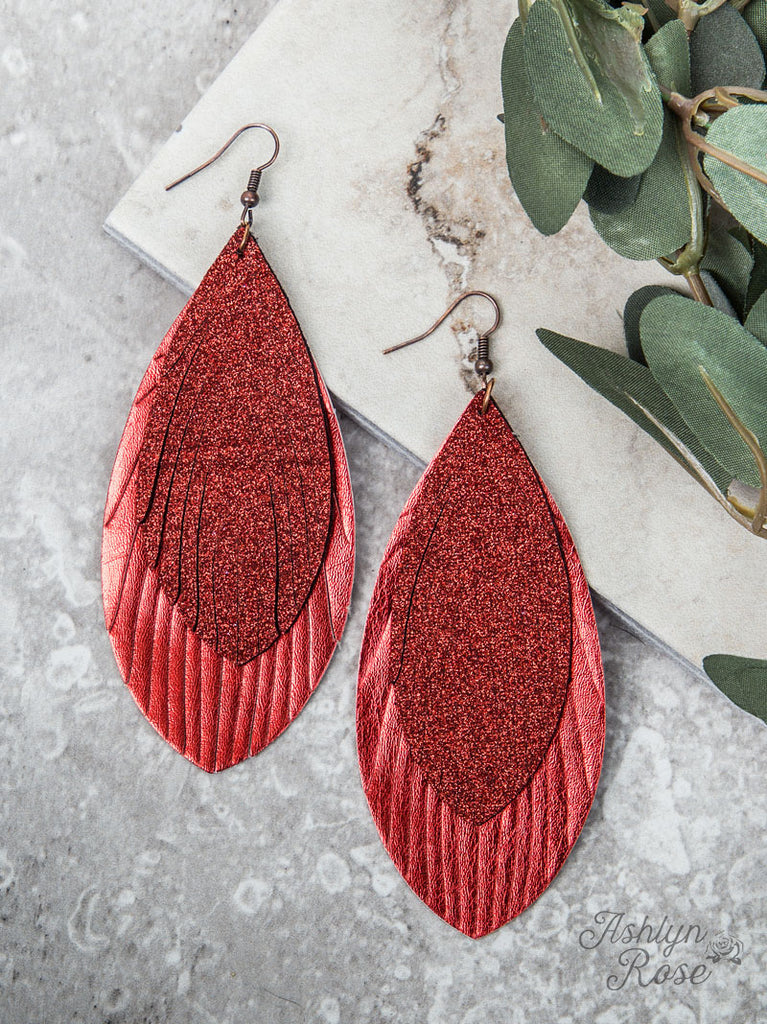 Large Glitter Feather Earrings, Red - Blessed and Beautiful Boutique