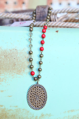 Pink Panache Red & Bronze Necklace with Oval Pendant covered in Solid Crystals in Topaz - Blessed and Beautiful Boutique