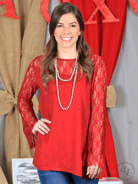 Red Blouse with Beautiful Lace Bell Sleeves - Blessed and Beautiful Boutique