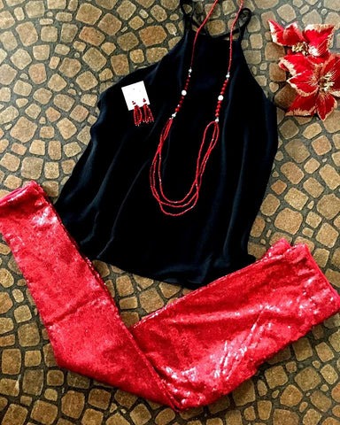 Red Sequin leggings - Blessed and Beautiful Boutique